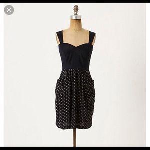 Eloise polka dot dress size L ~navy/ white